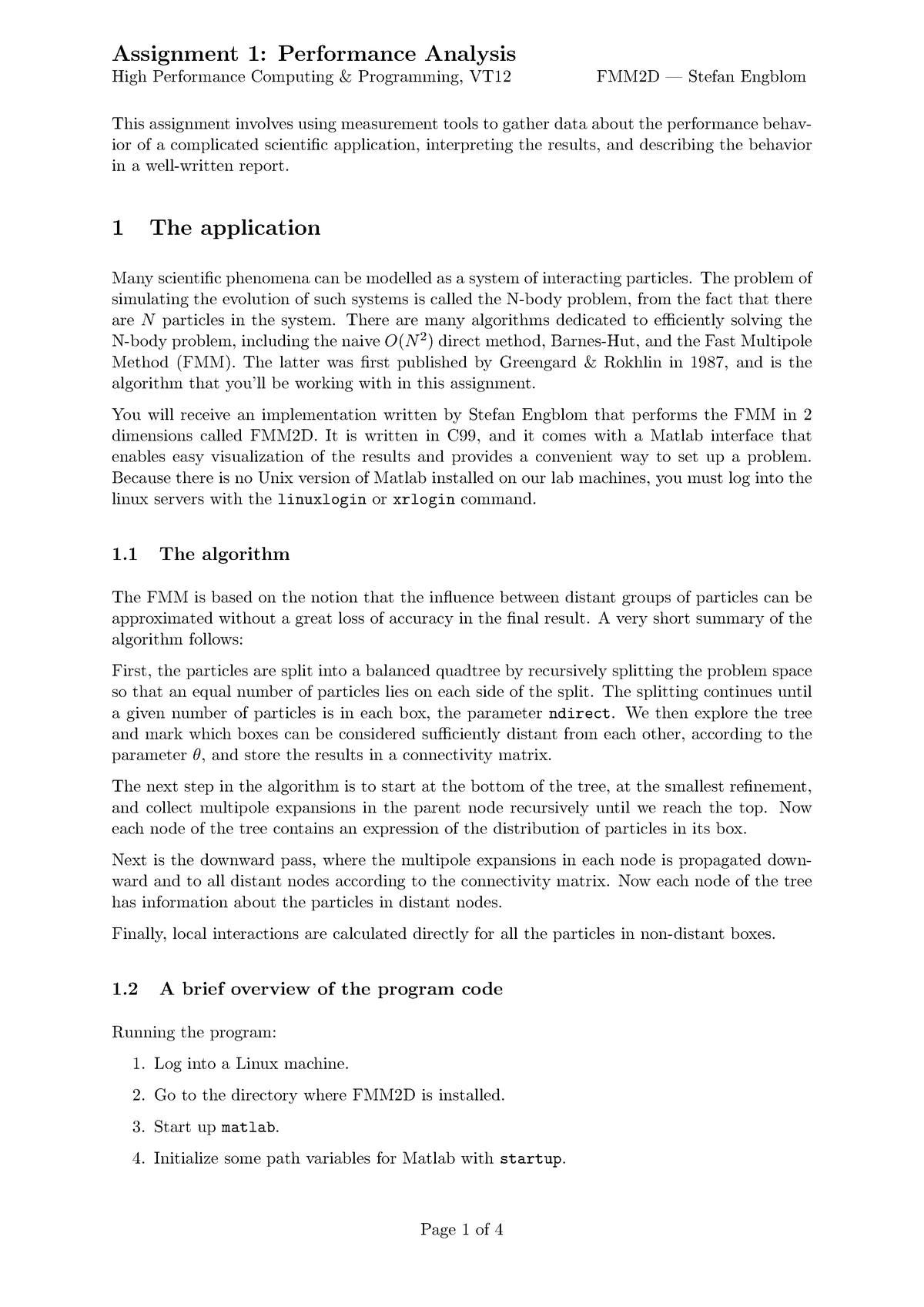 Mandatory Assignments 1&2 - Högprestandaberäkningar Och