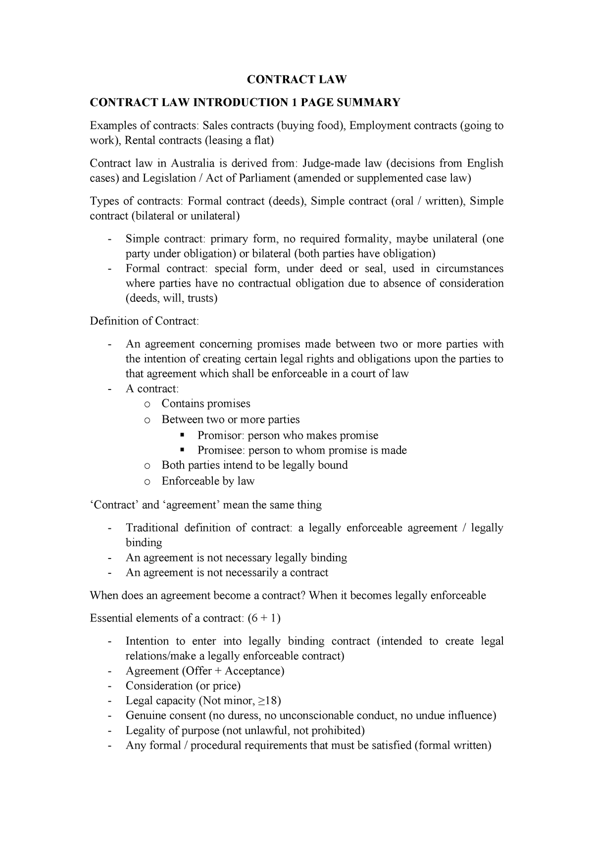 Lecture notes, lectures 1 - Contract Law - TABL1710