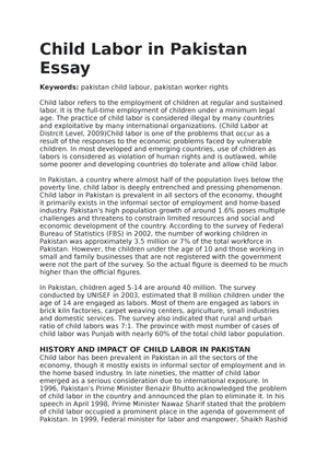 reasons of child labor in pakistan