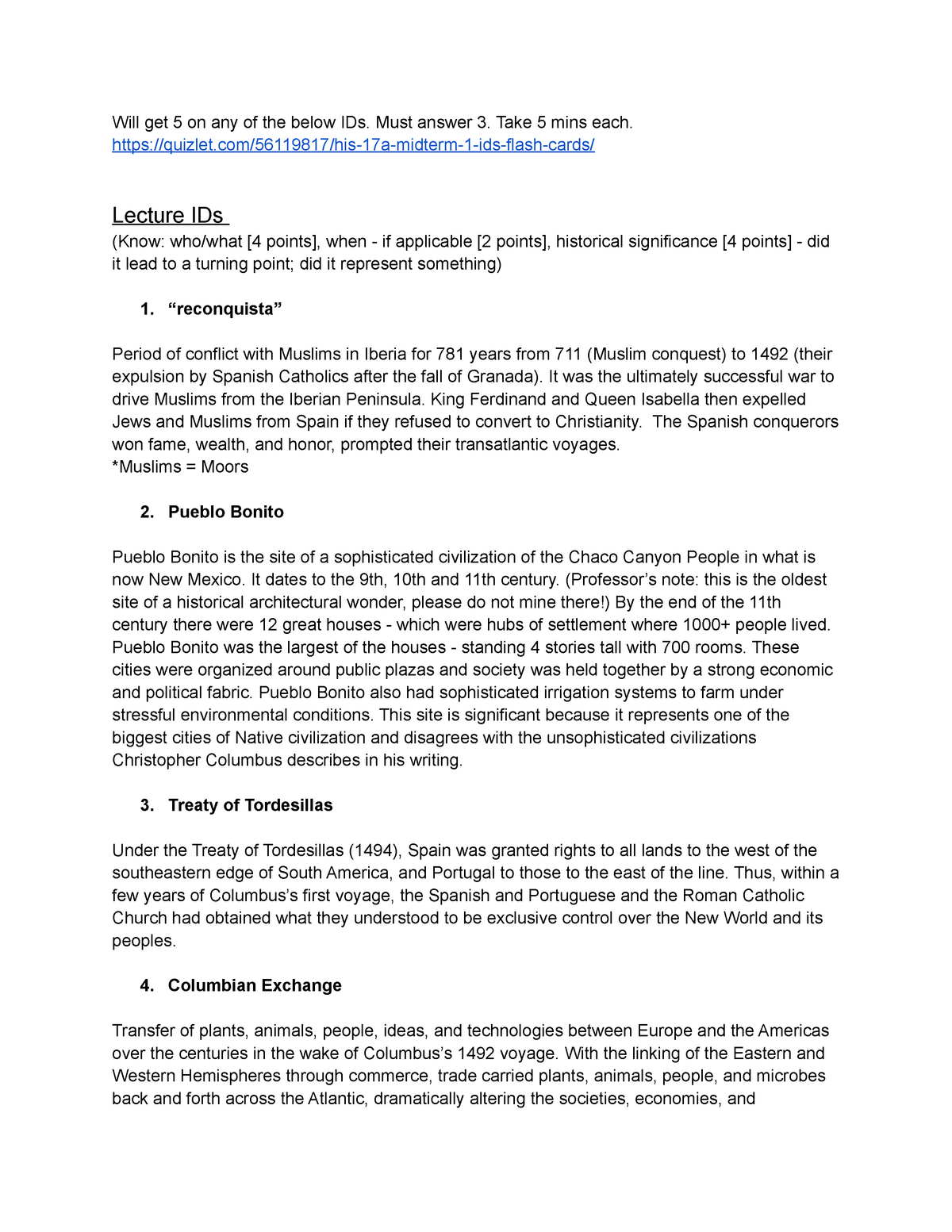 History 17A Midterm Study Guide - HIS 17A - StuDocu