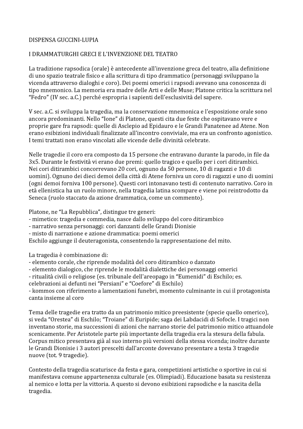 Dispensa Guccini Riassunto Dams Discipline Delle Arti