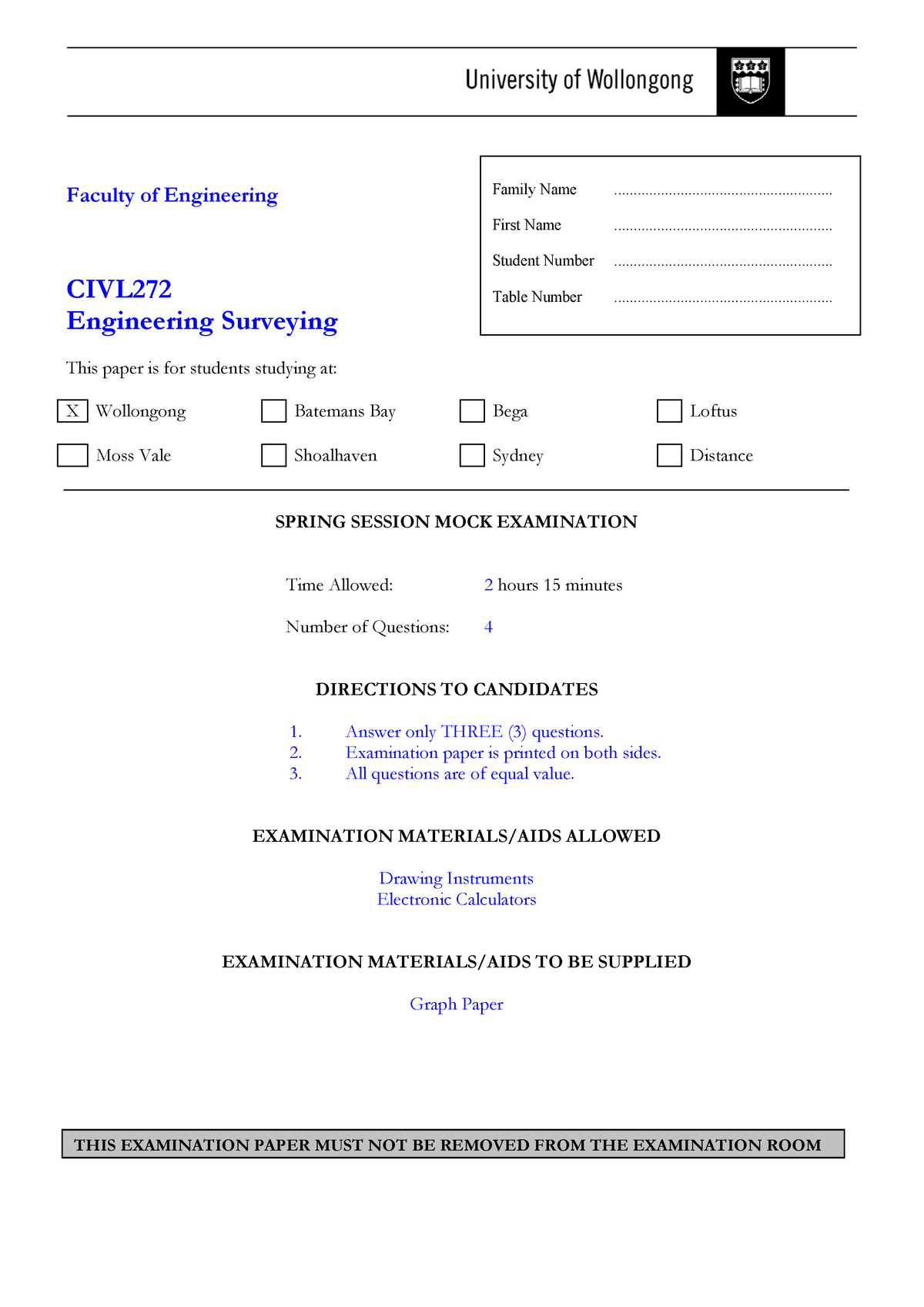 Engineering Surveying Practice Exam 12 September 2011