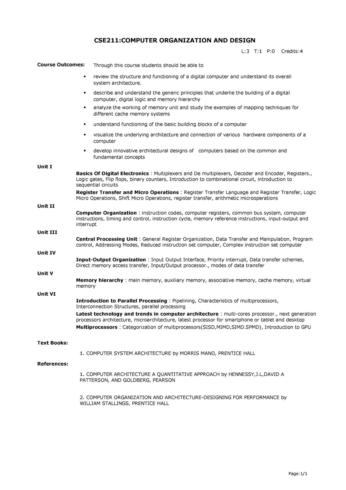 Computer Organisation And Design Cod Cse 211 Lpu Studocu