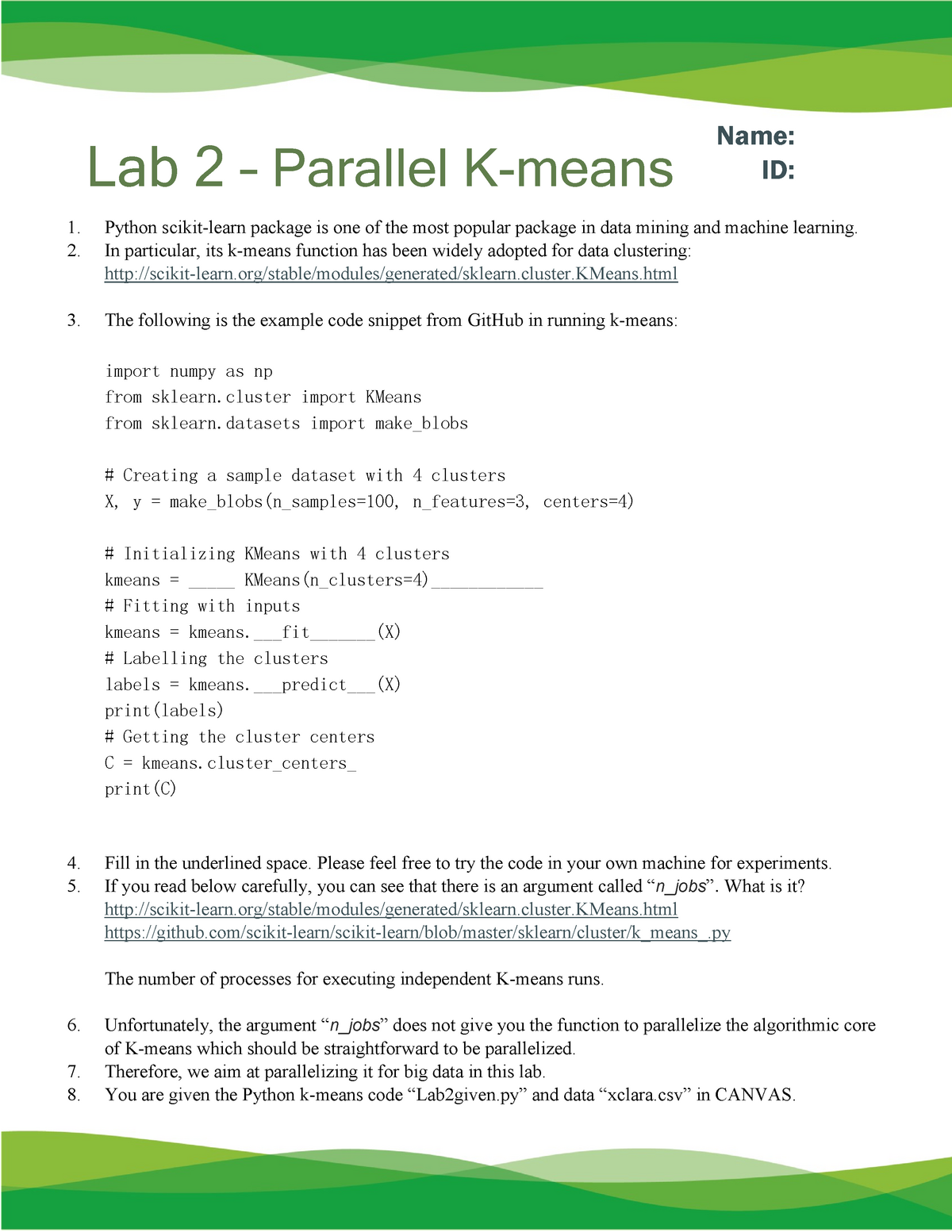 Answers Lab2 Parallel Kmeans - Data-Intensive Computing