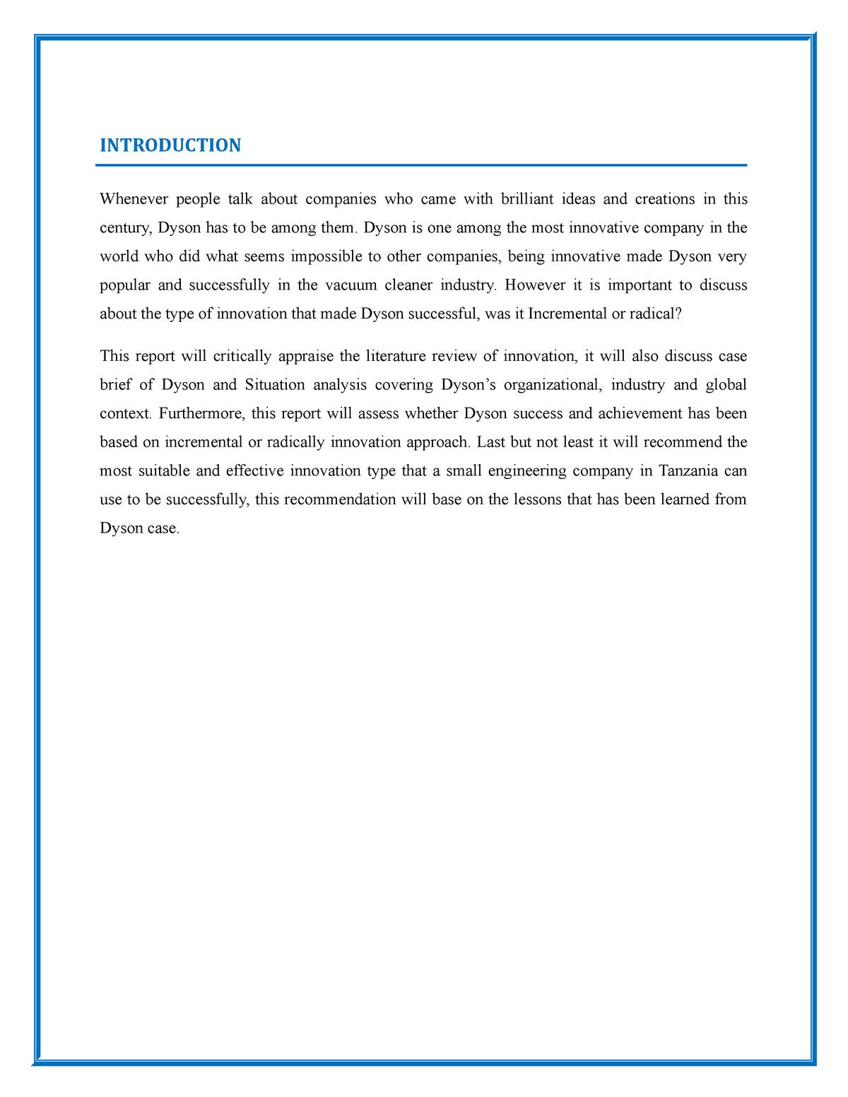 Dyson Assignment - Final Course Assessment - BUSN11075 - UWS