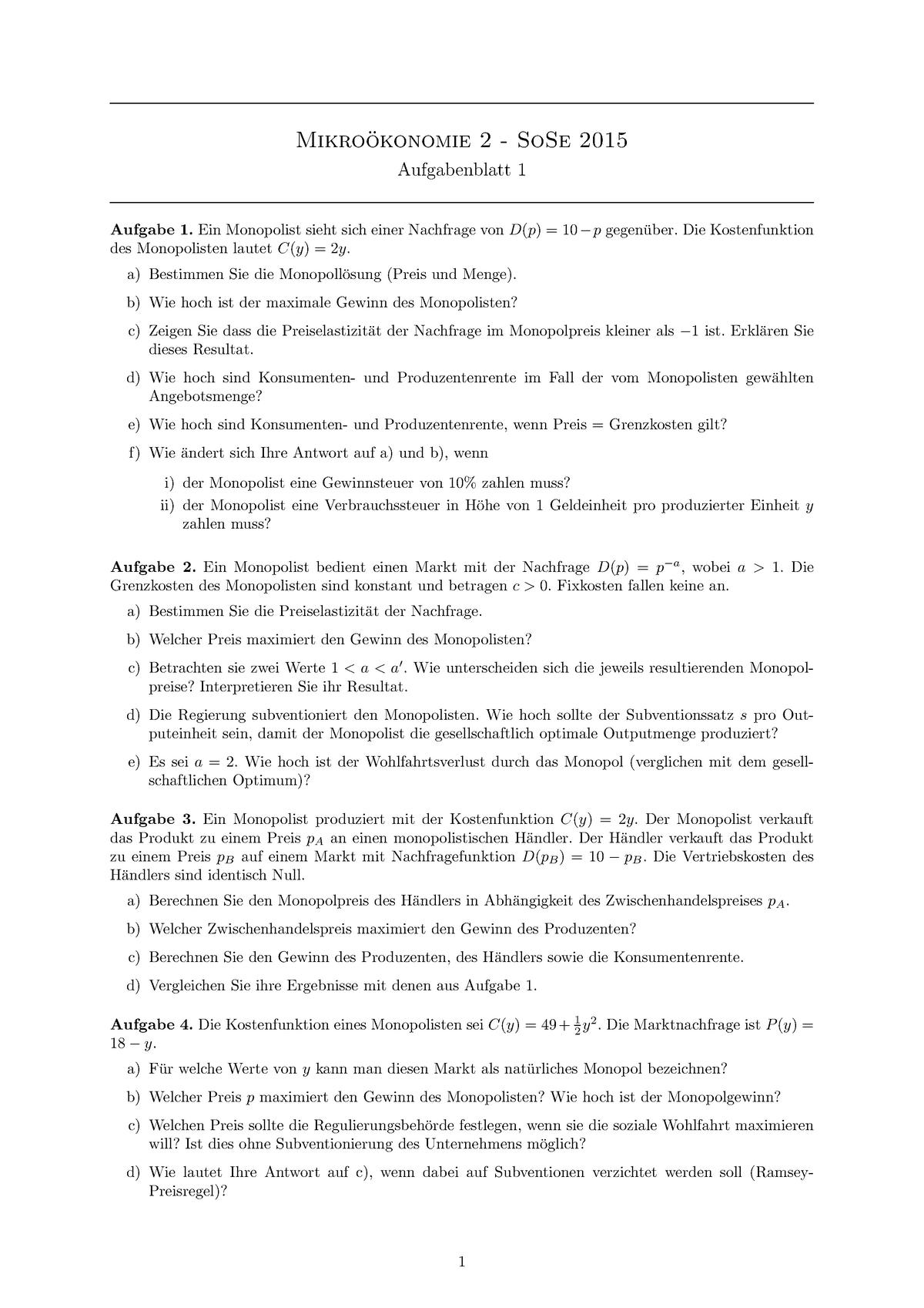 1245c023d Übungen - SS2015 - Aufgabenblätter 1-7 mit Lösungen - 70114: Mikroökonomie  II - StuDocu