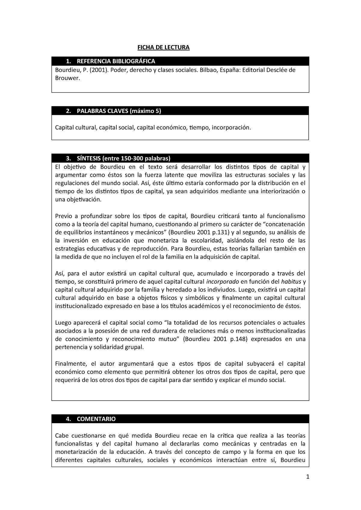 Ficha Bourdieu Sociologia De La Educacion Studocu