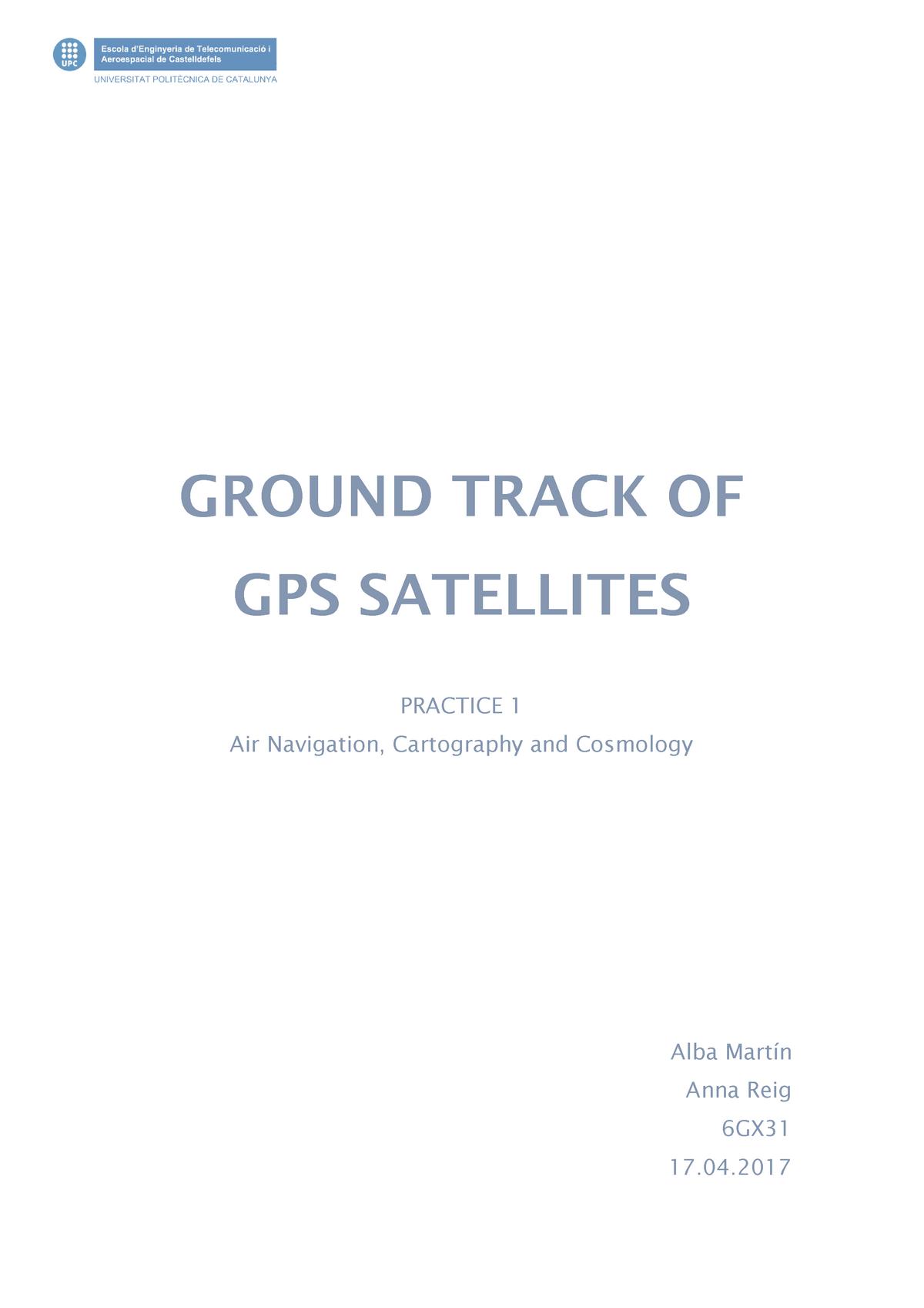 PRÁCTICA GPS - Navegación, Cartografía y Cosmografía - StuDocu
