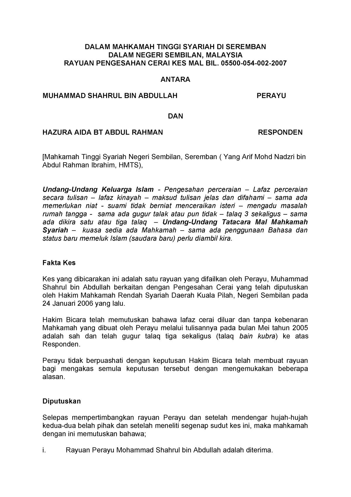 Kes Talaq Di Negeri Sembilan Islamic Family Law Law633 Studocu