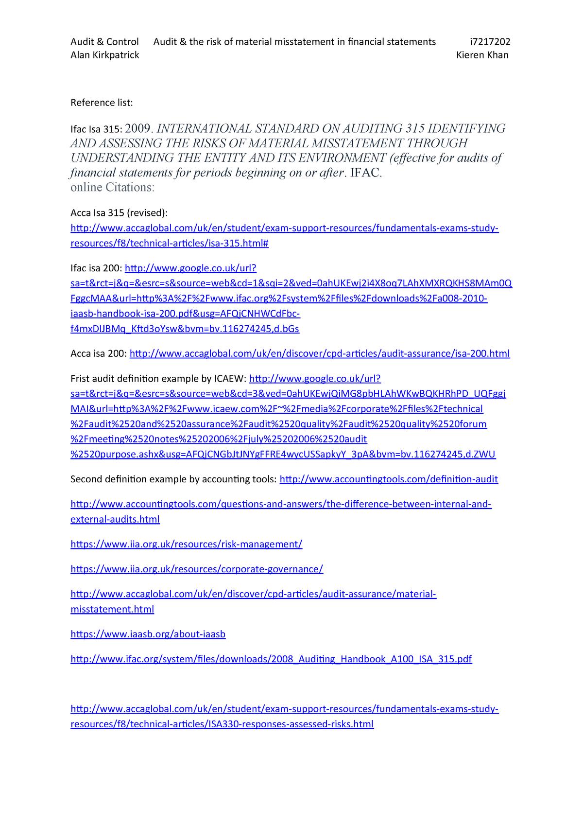 audit and control essay - Audit & Control - StuDocu
