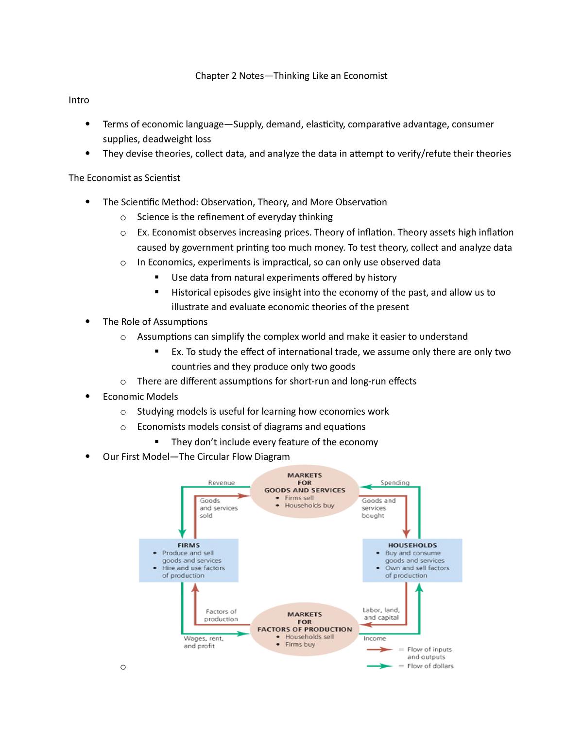 Econ Chapter 2 Notes - Summary Principles of Economics - StuDocu