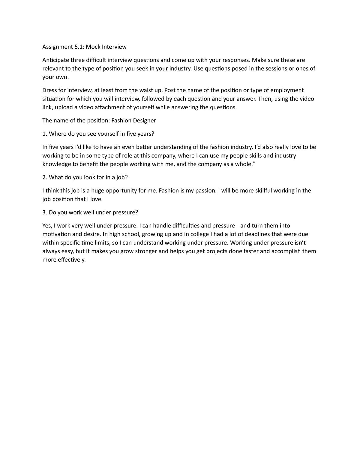 Assignment 5 1 Mock Interview La 291 Designing Careers Studocu
