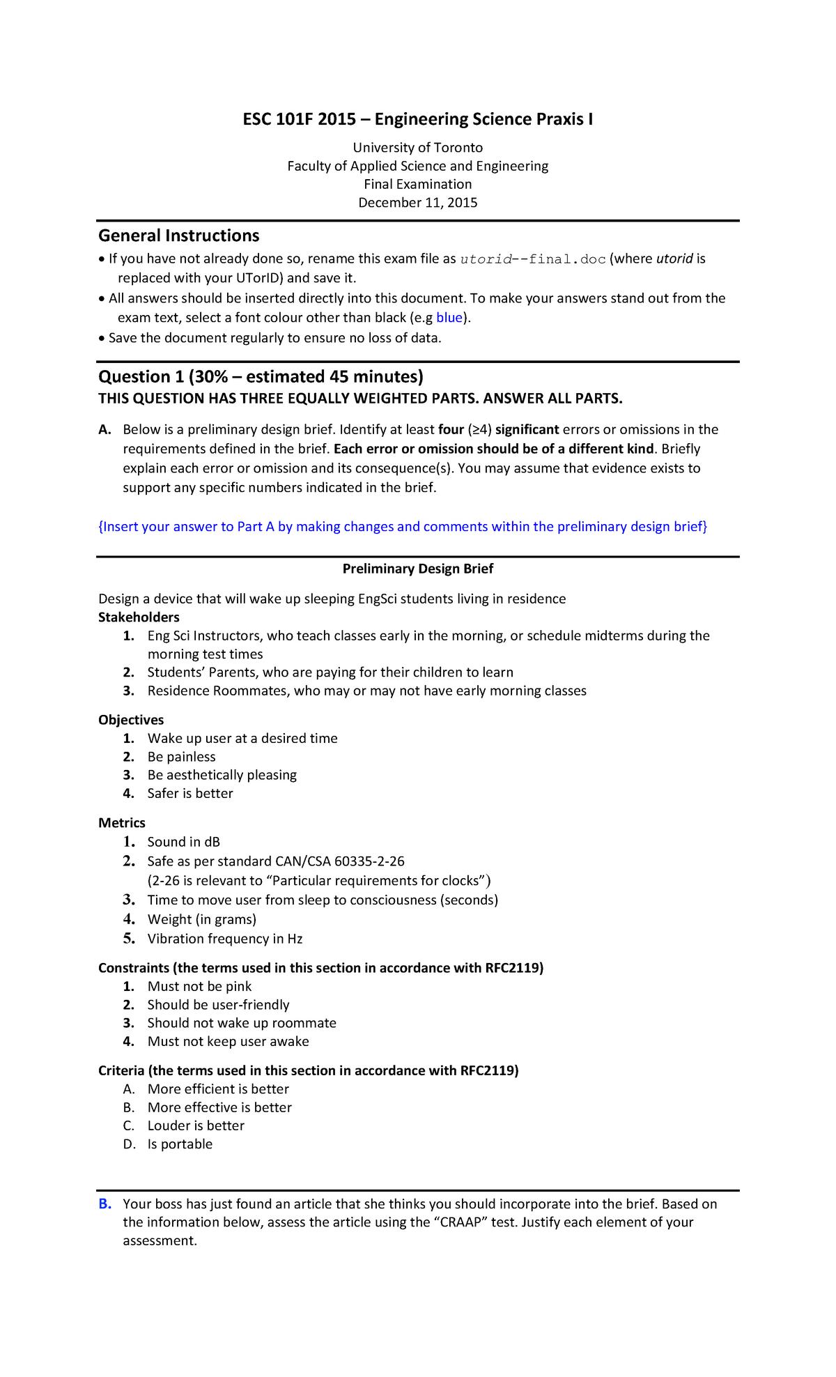Final Exam 11 December 2015, questions - ESC101H1 Praxis I