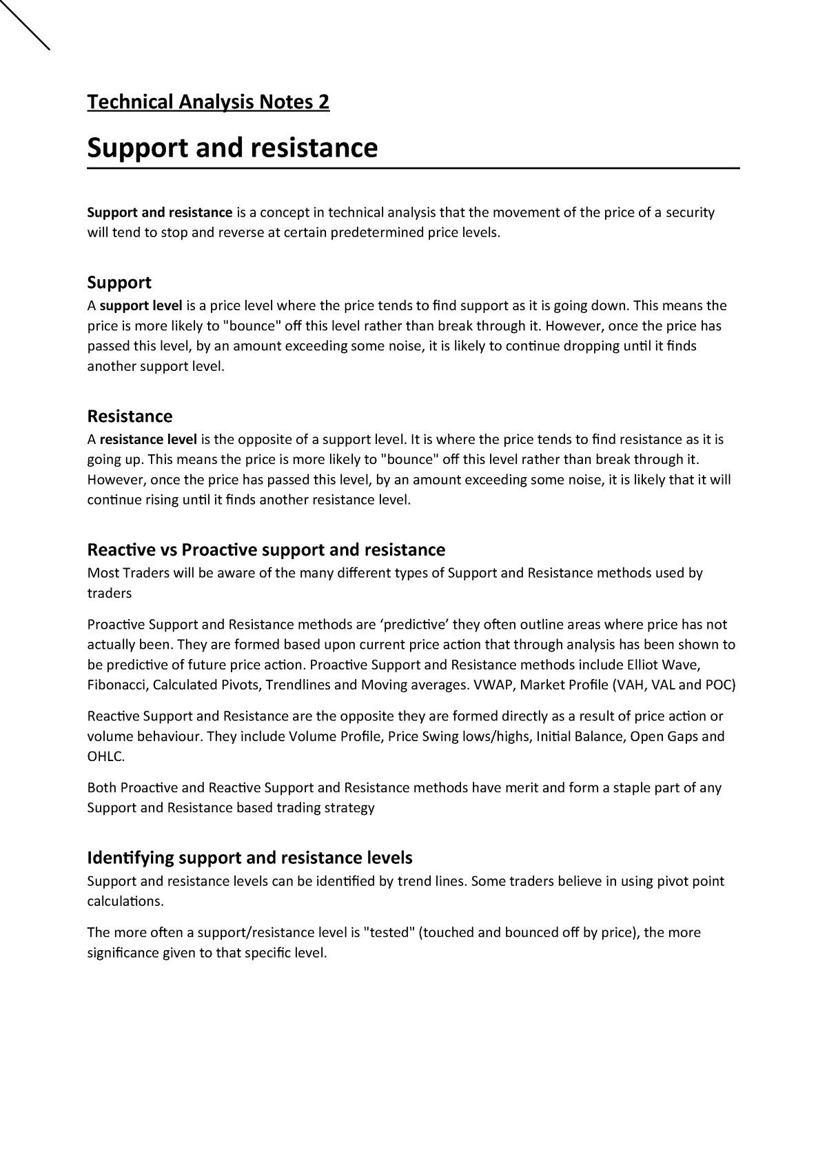 Technical Analysis Notes 2 - FIN3130: Finance - StuDocu