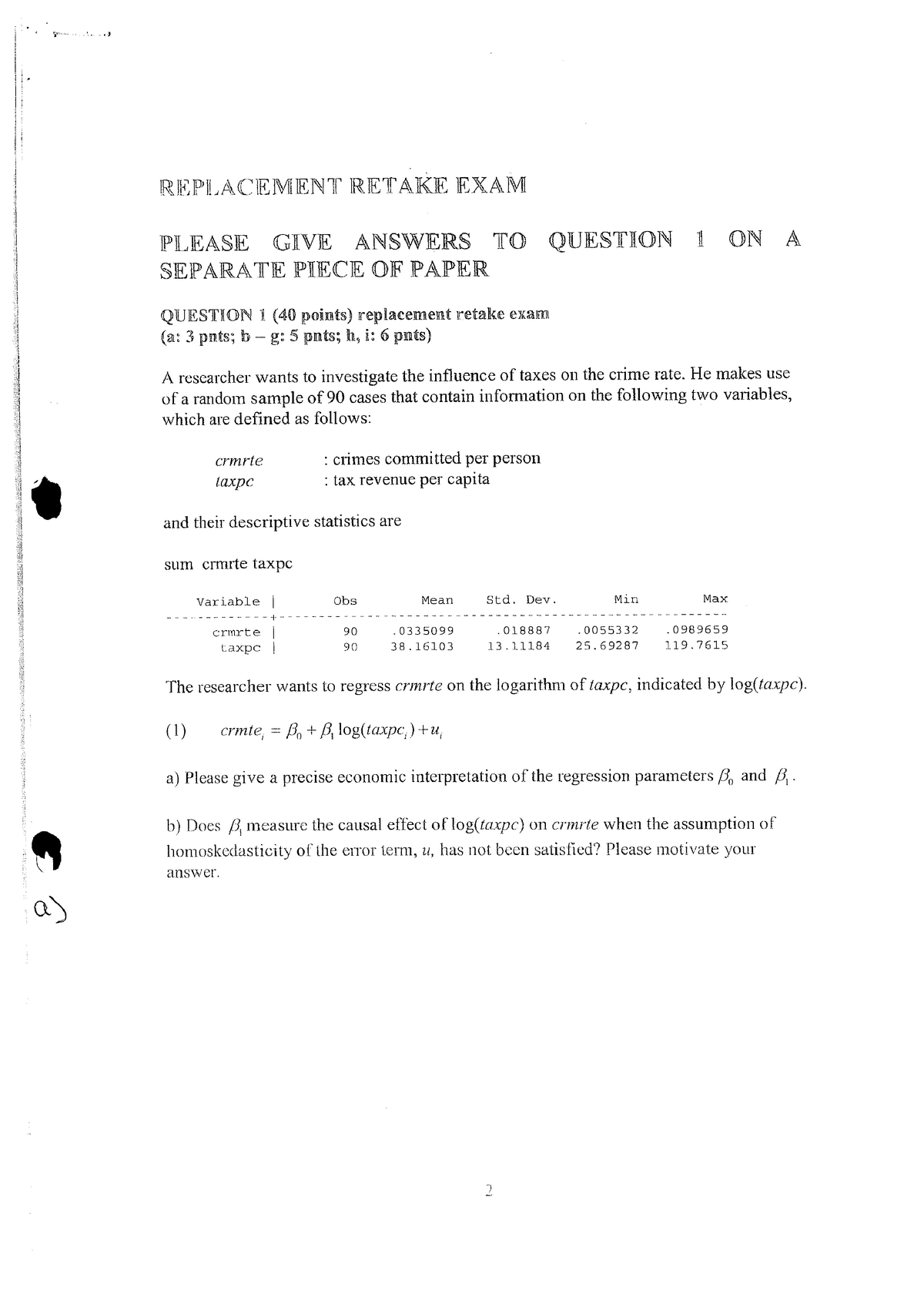 Exam 2011 - WISB377: Econometrie - StuDocu
