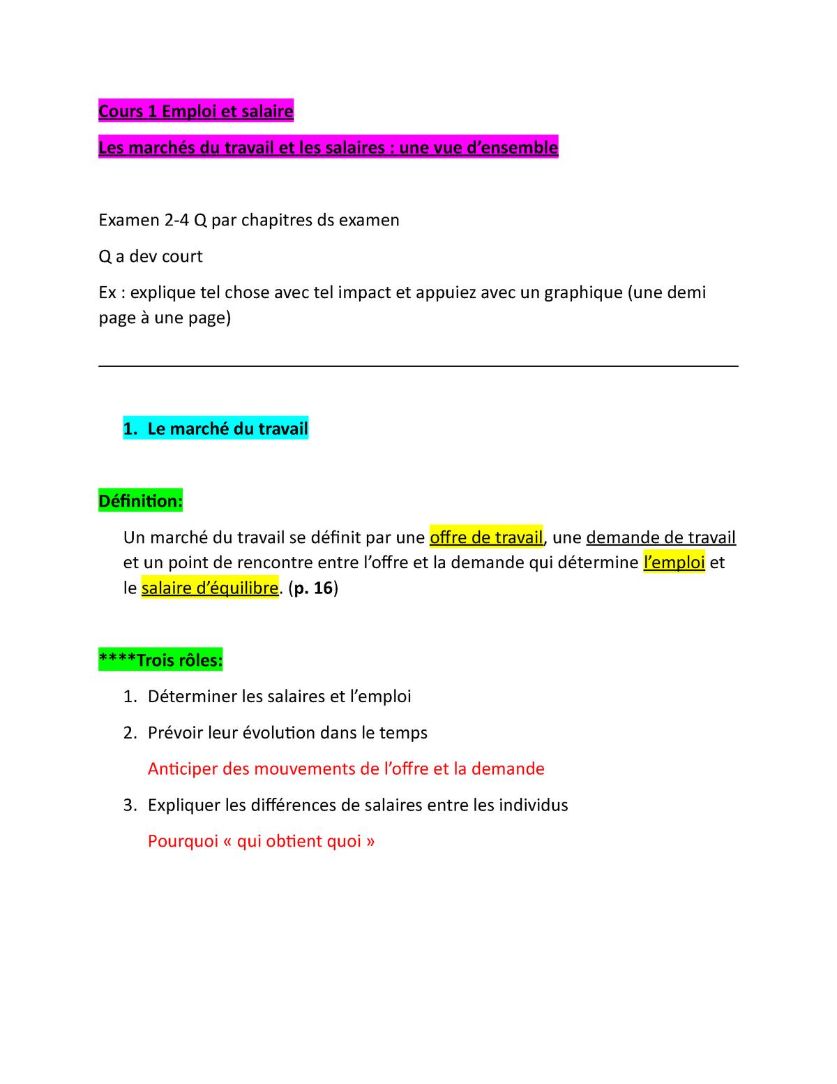Cours 1 Emploi Et Salaire Rei 1420 Emploi Et Salaire Studocu