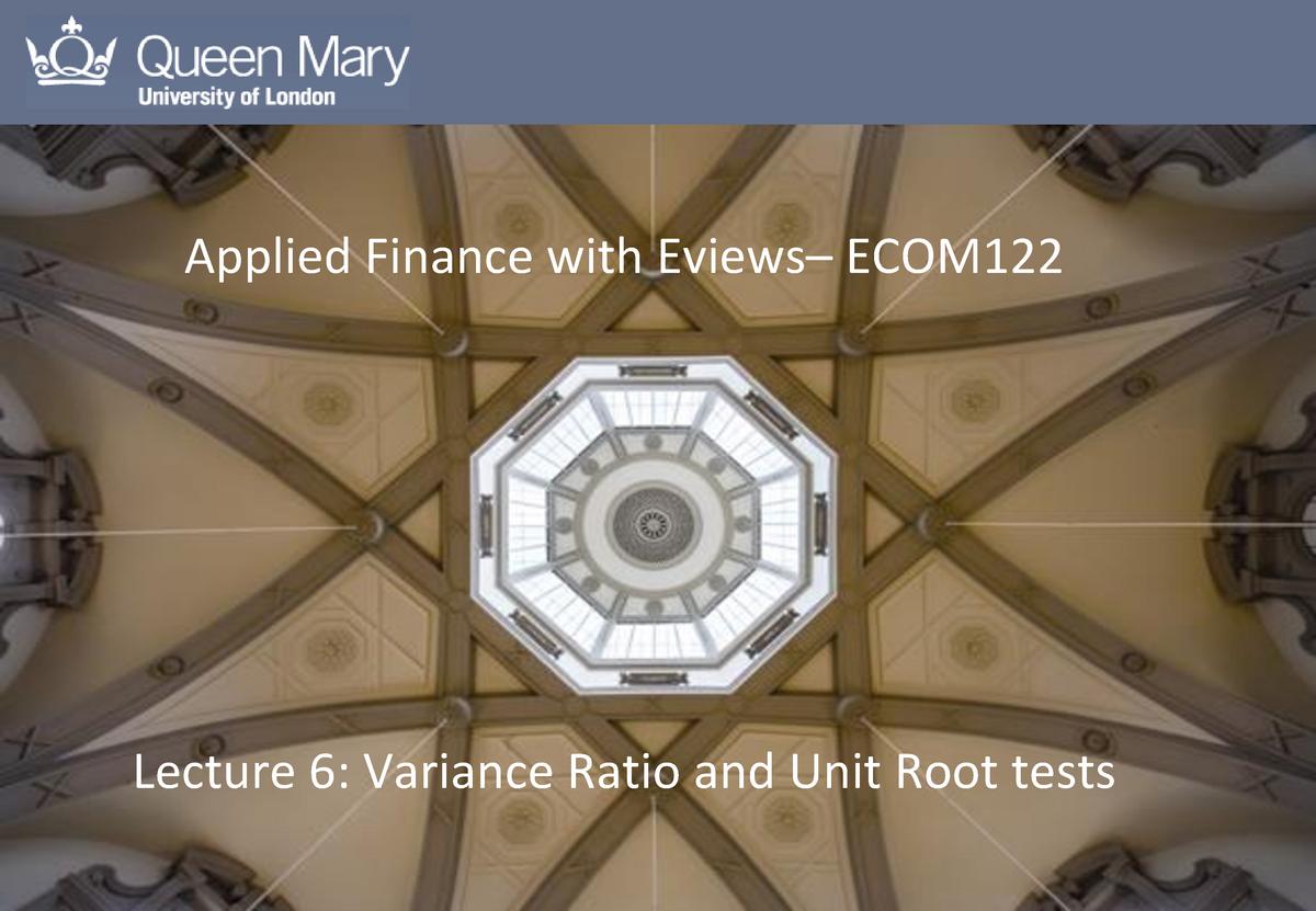 Lecture 6 Applied Finance - ECOM122 - QMUL - StuDocu
