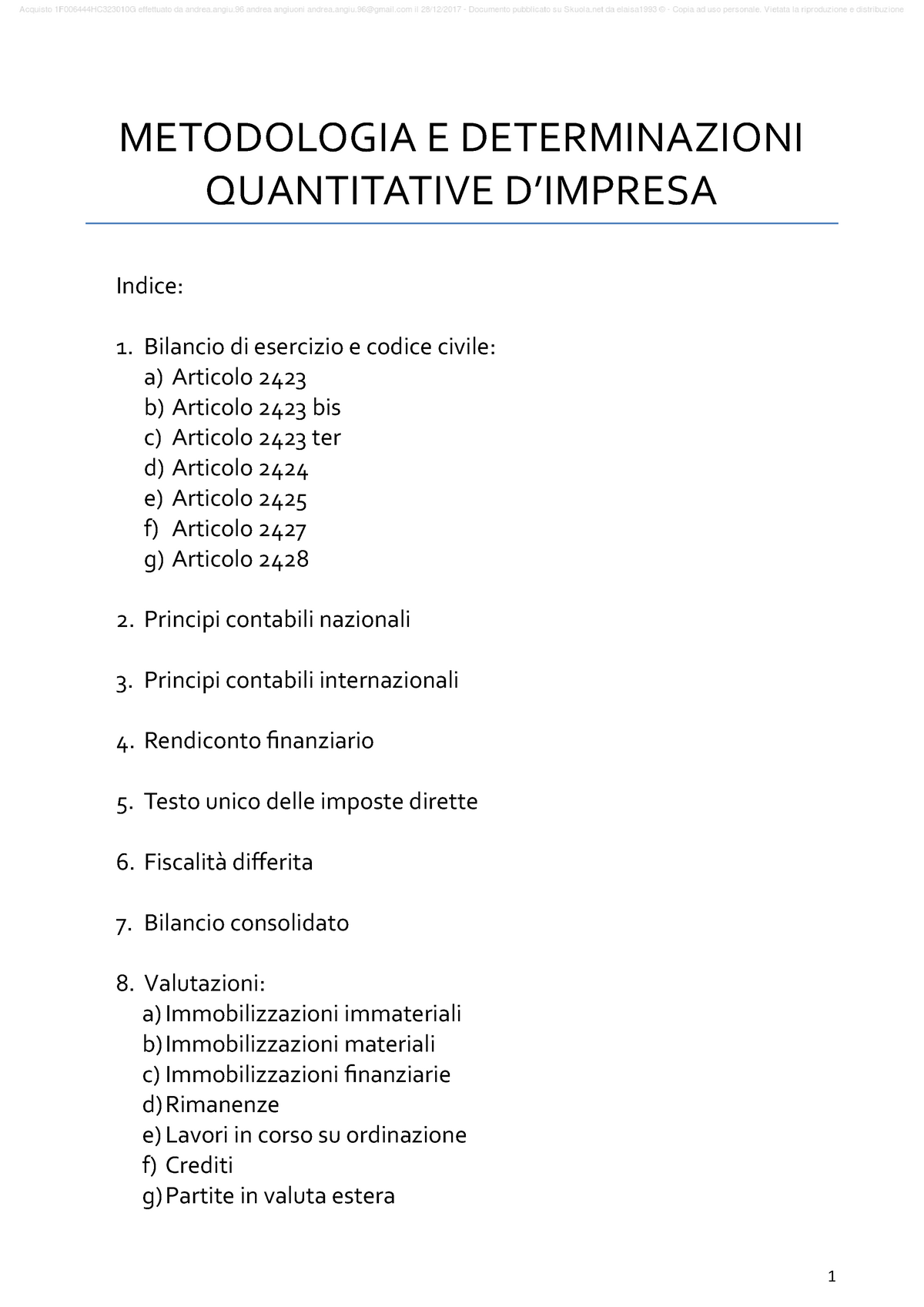 Dispense Metodologia E Determinazioni Quantitative Dazienda Studocu