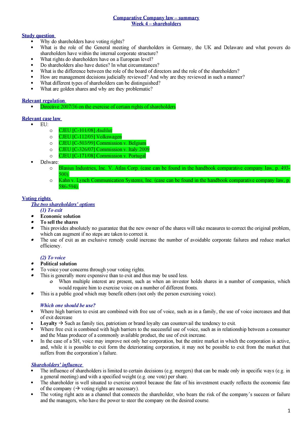 Week 4 - Company law Ï© o╠é summary - PRI4004 - StudeerSnel
