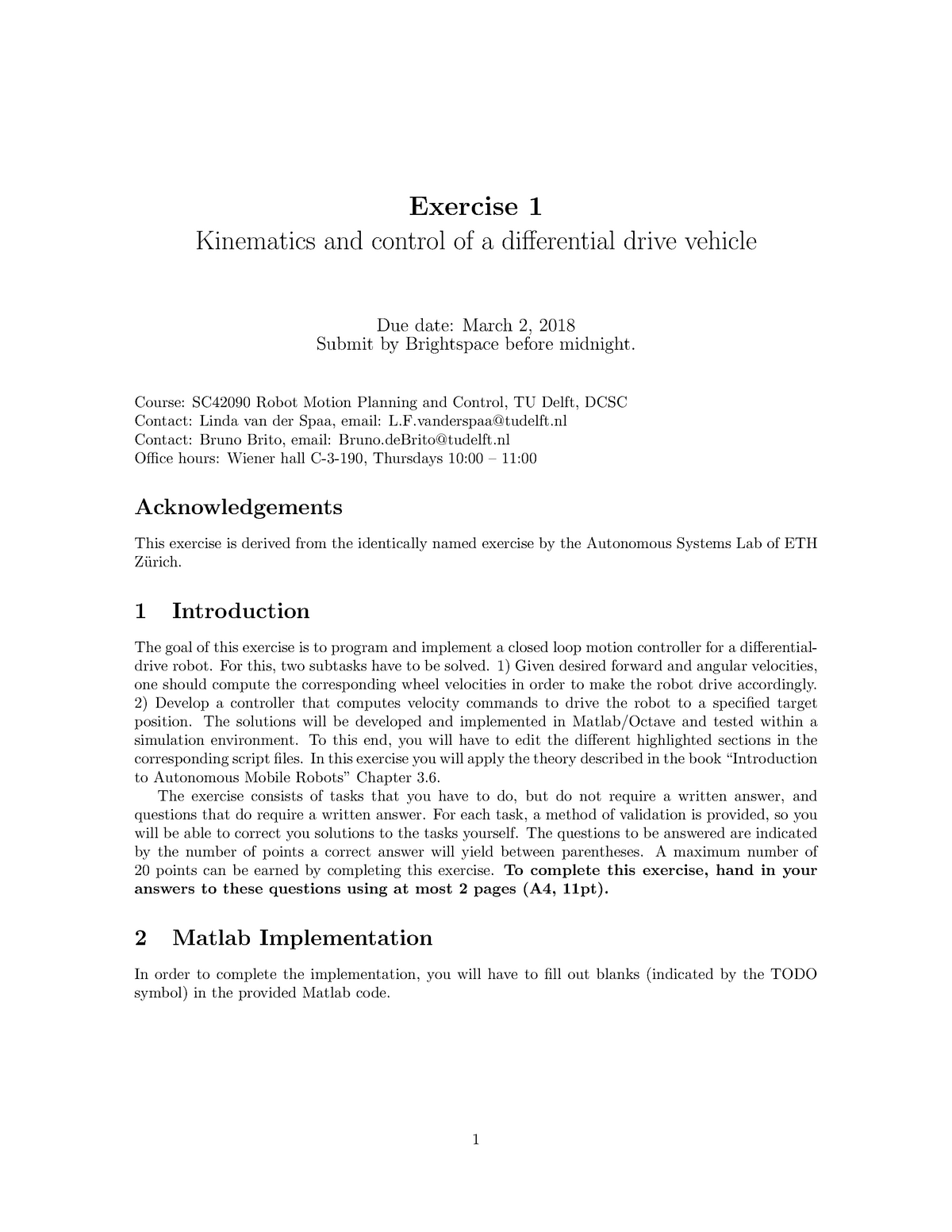 Exercise 1 - SC42090: Robot Motion Planning and Control - StudeerSnel nl