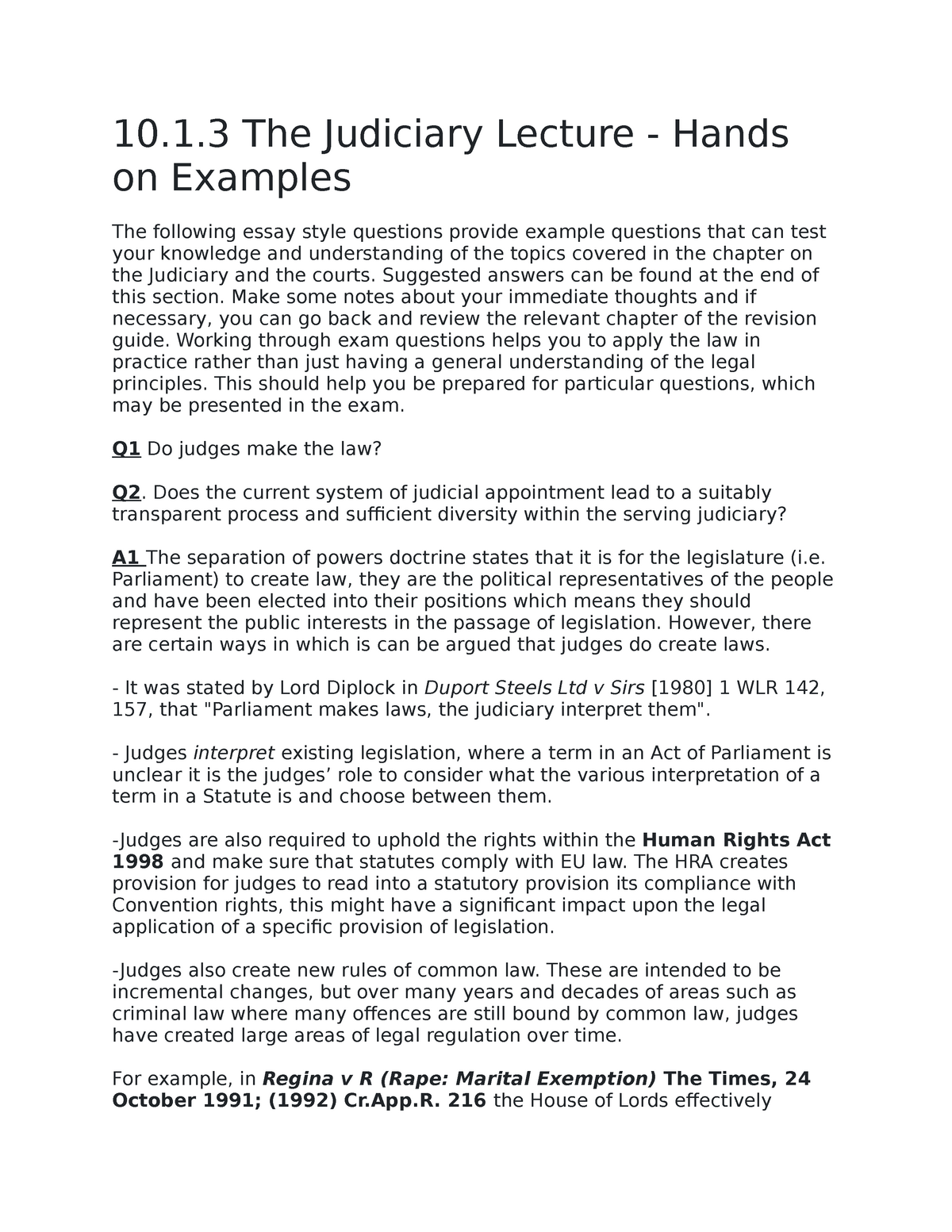 The Human Rights Act Judiciary Lecture Examples - Copy - LLB