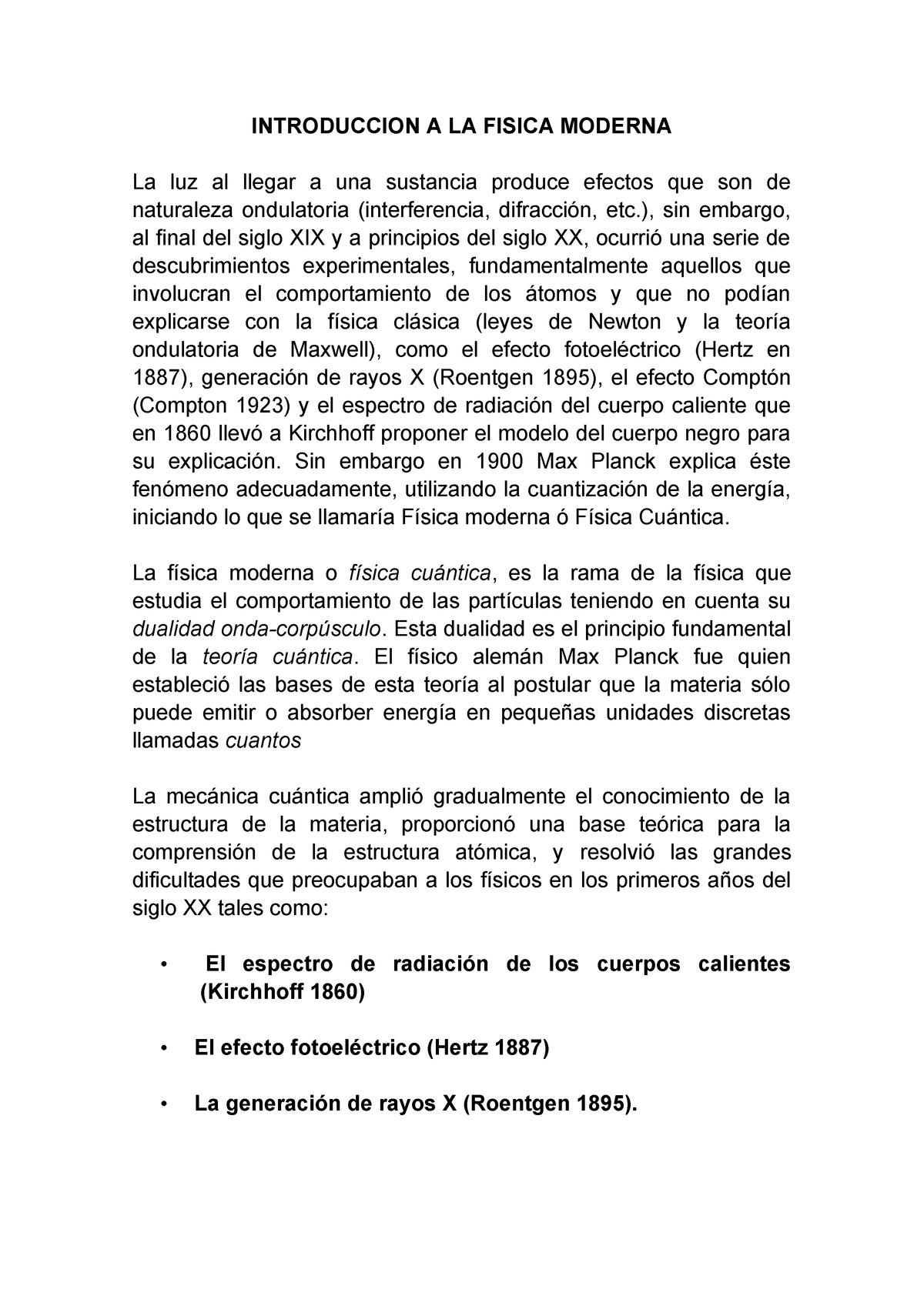 Introducción A La Física Moderna Fisica Basica Fsca030