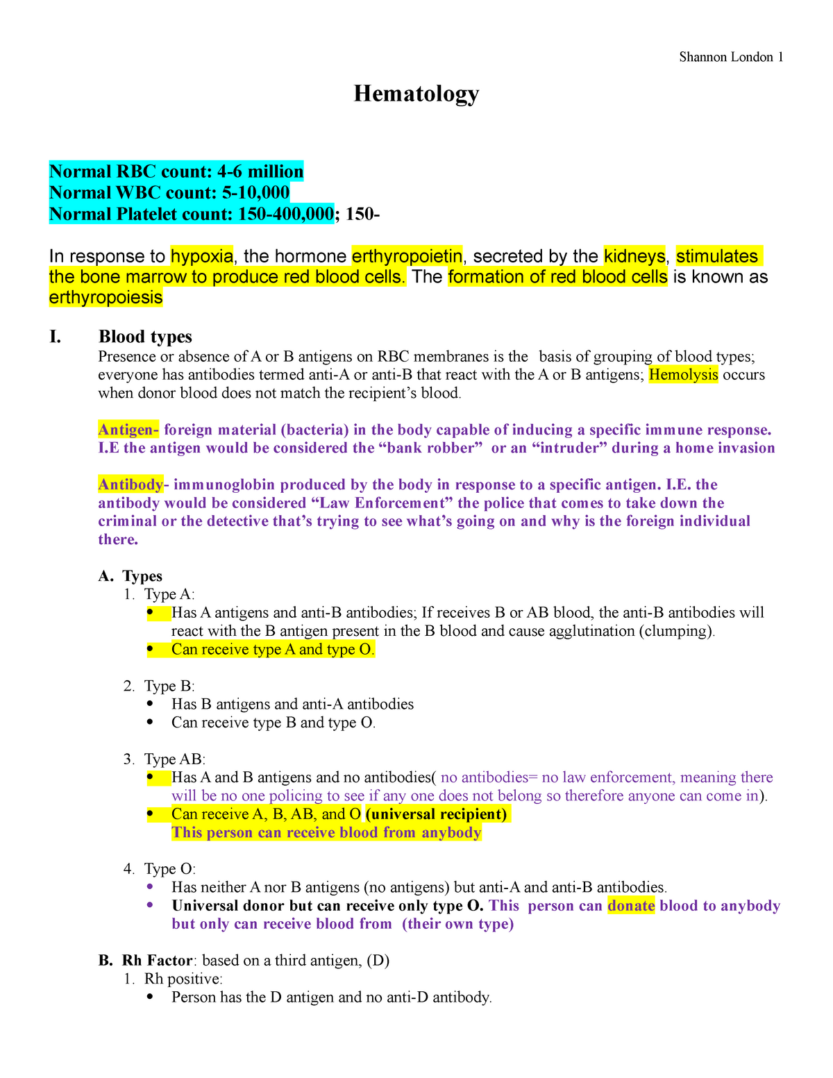 Hematology SL - Chapter test notes - NURS 304 - StuDocu