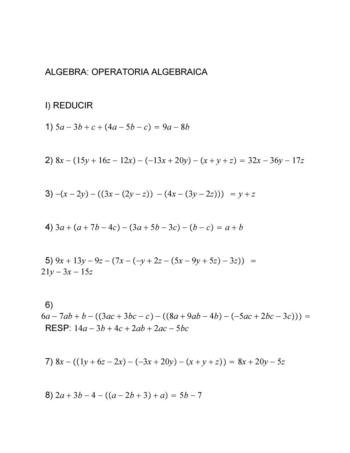 Guia Operatoria Algebraica Matemática Aplicada Studocu