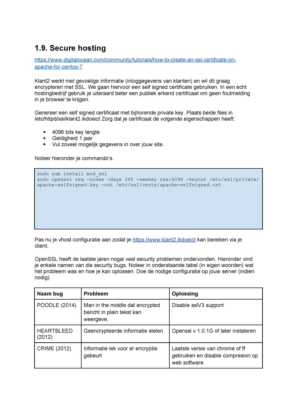 Labo 9 - Secure hosting - JPW339: Server Administration - StuDocu