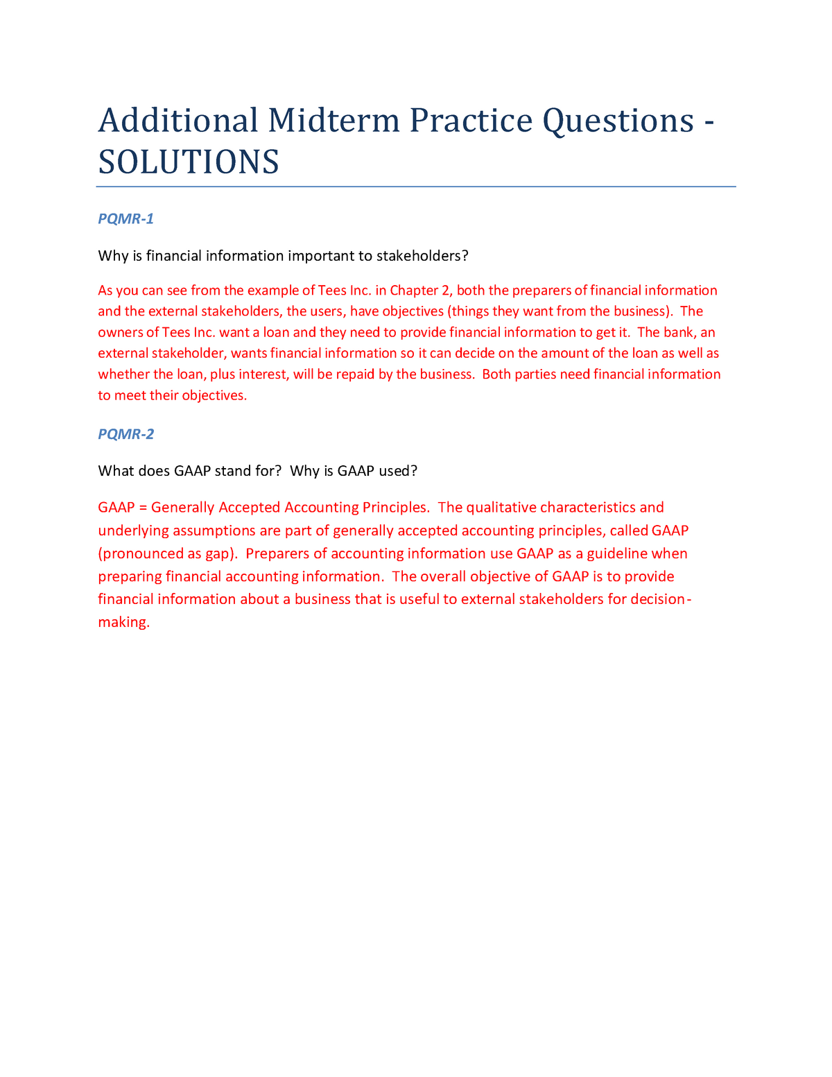Midterm Review Practice Questions - Solutions - Cacc 110