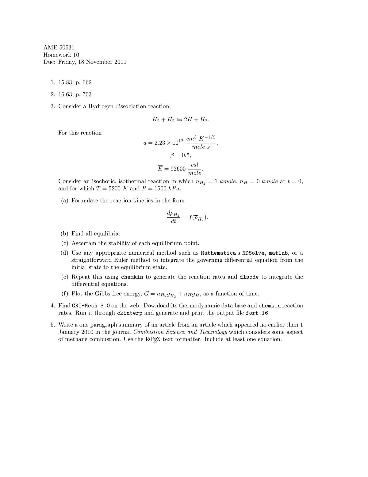 Hw 10 - questions - AME 50531: Intermediate Thermodynamics - StuDocu