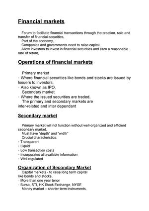 Financial markets - Grade: A - FI4503 - Abdn - StuDocu