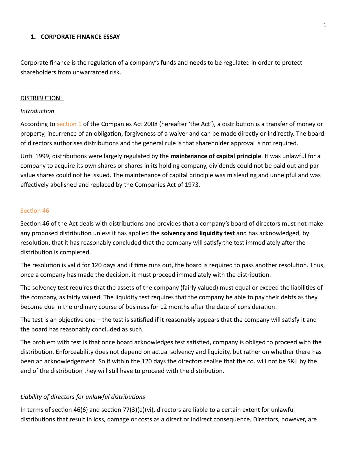 Proposed regulation essay