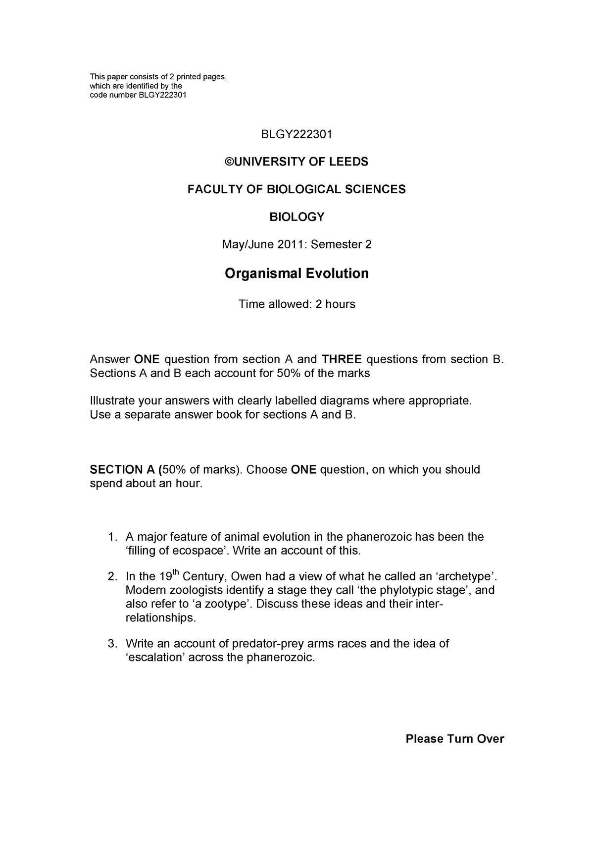 Exam 2011 - BLGY2223: Organismal Evolution - StuDocu