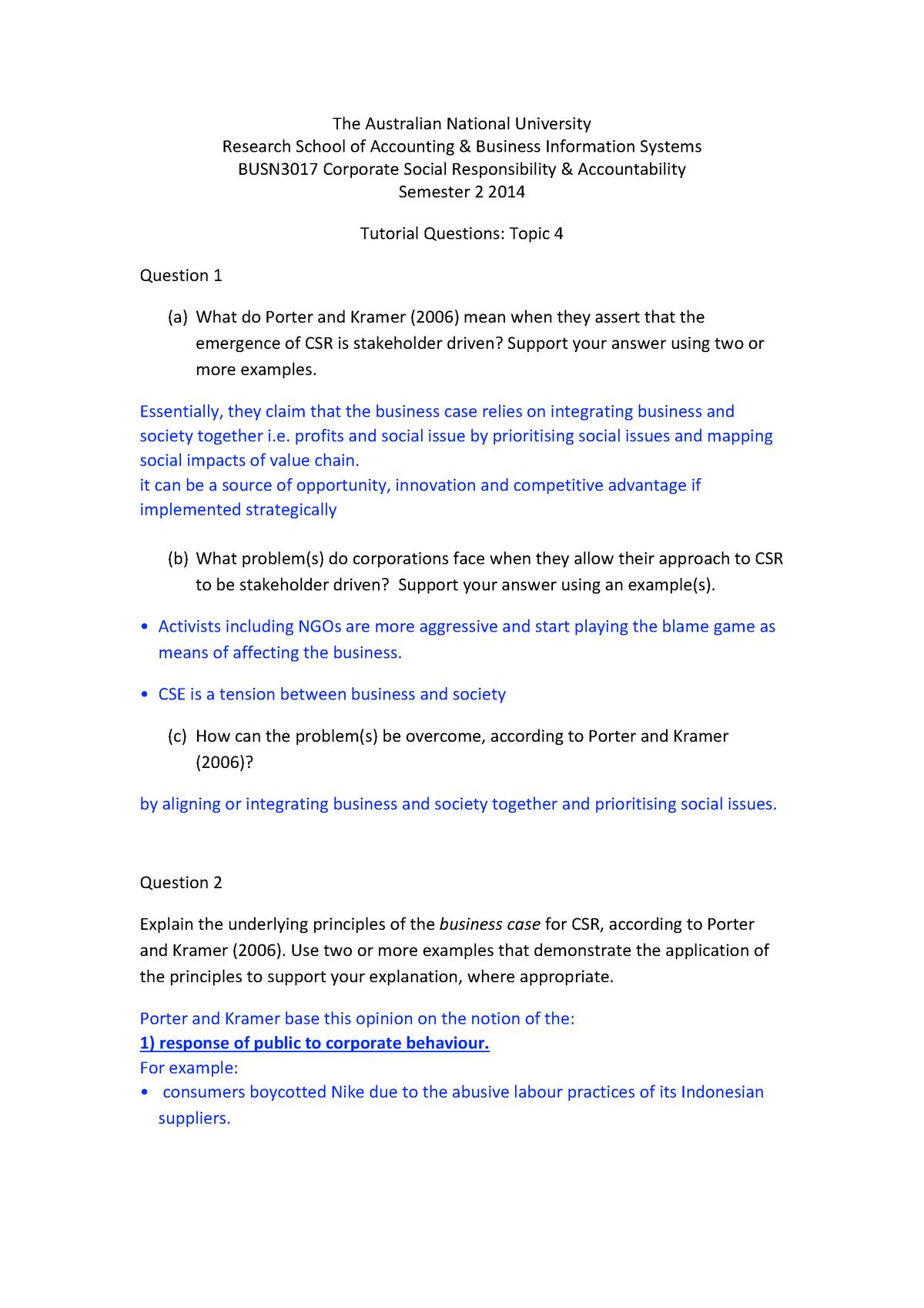 Tutorial work - topics 4, 9 - BUSN3017 - ANU - StuDocu