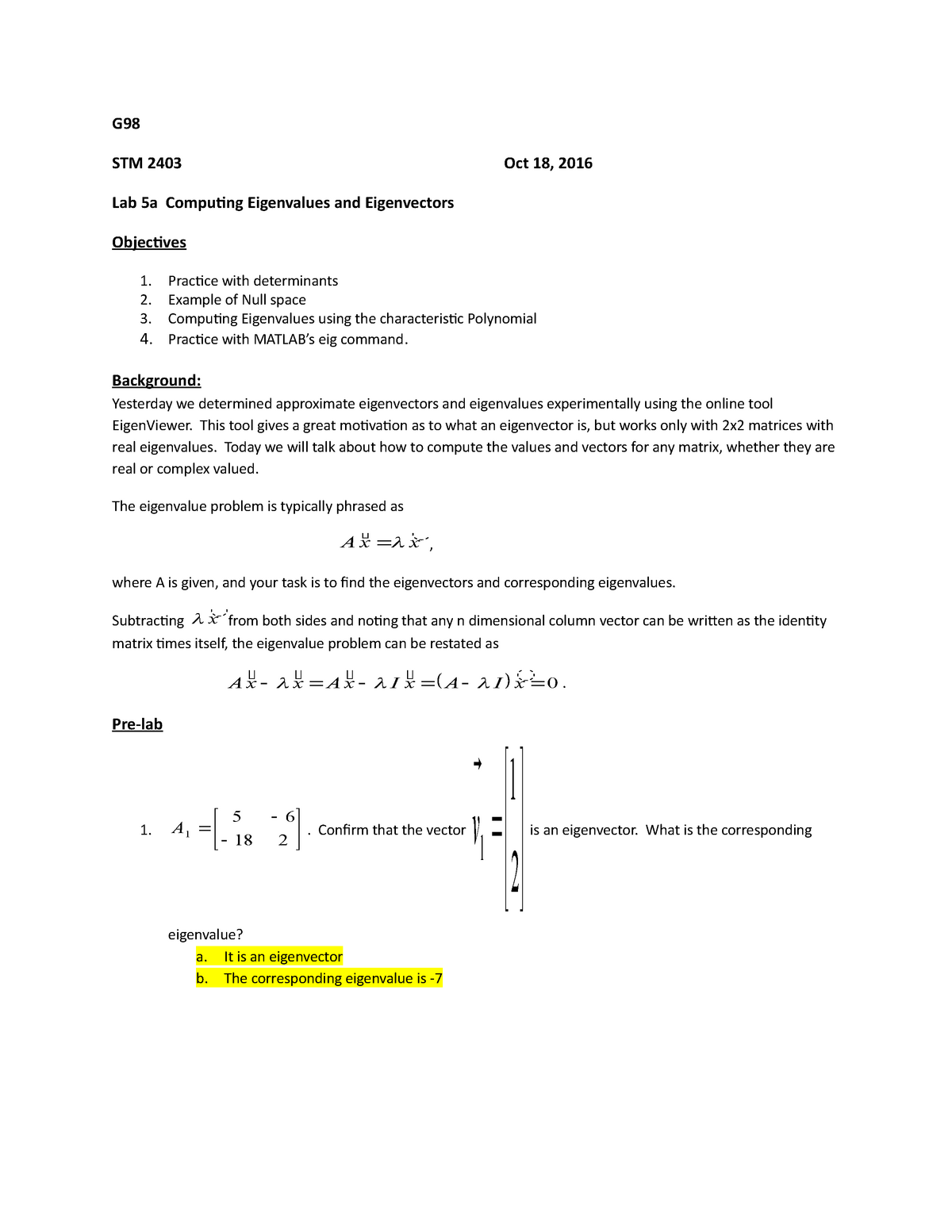 Lab5 a eigs - lab 5 - STME 2403: Math/Comp Methods Iii - StuDocu
