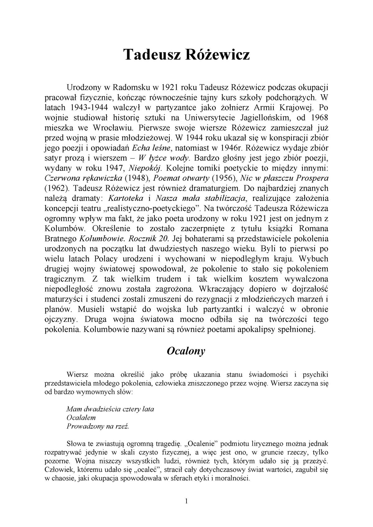 Tadeusz Rozewicz Literatura Współczesna Uwm Studocu
