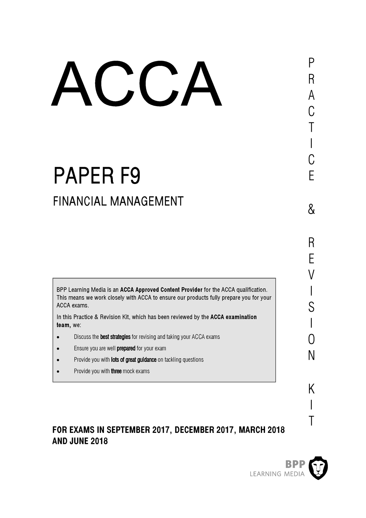 ACCA FM BPP F9 Revision Kit 2018 - Accounting N400 - City