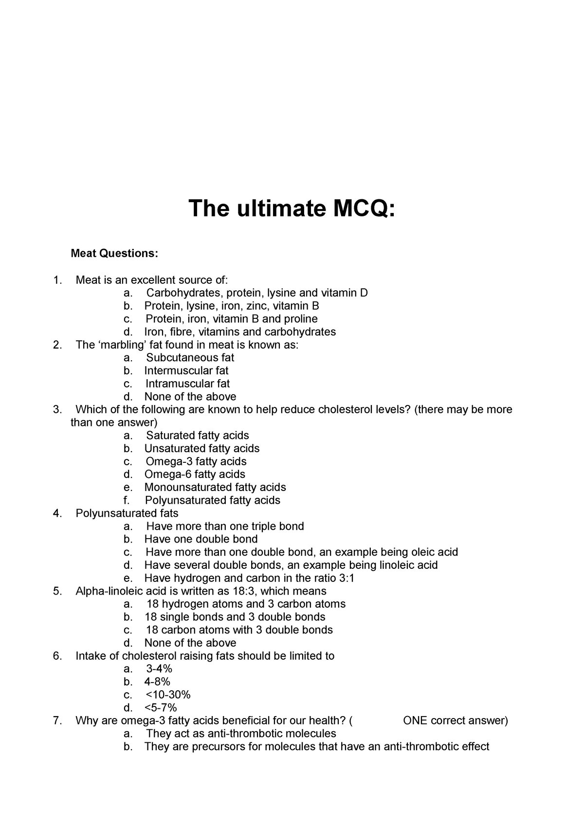 Ultimate MCQ-Food Diet and Health 1 - FDSC10010: Food Diet and