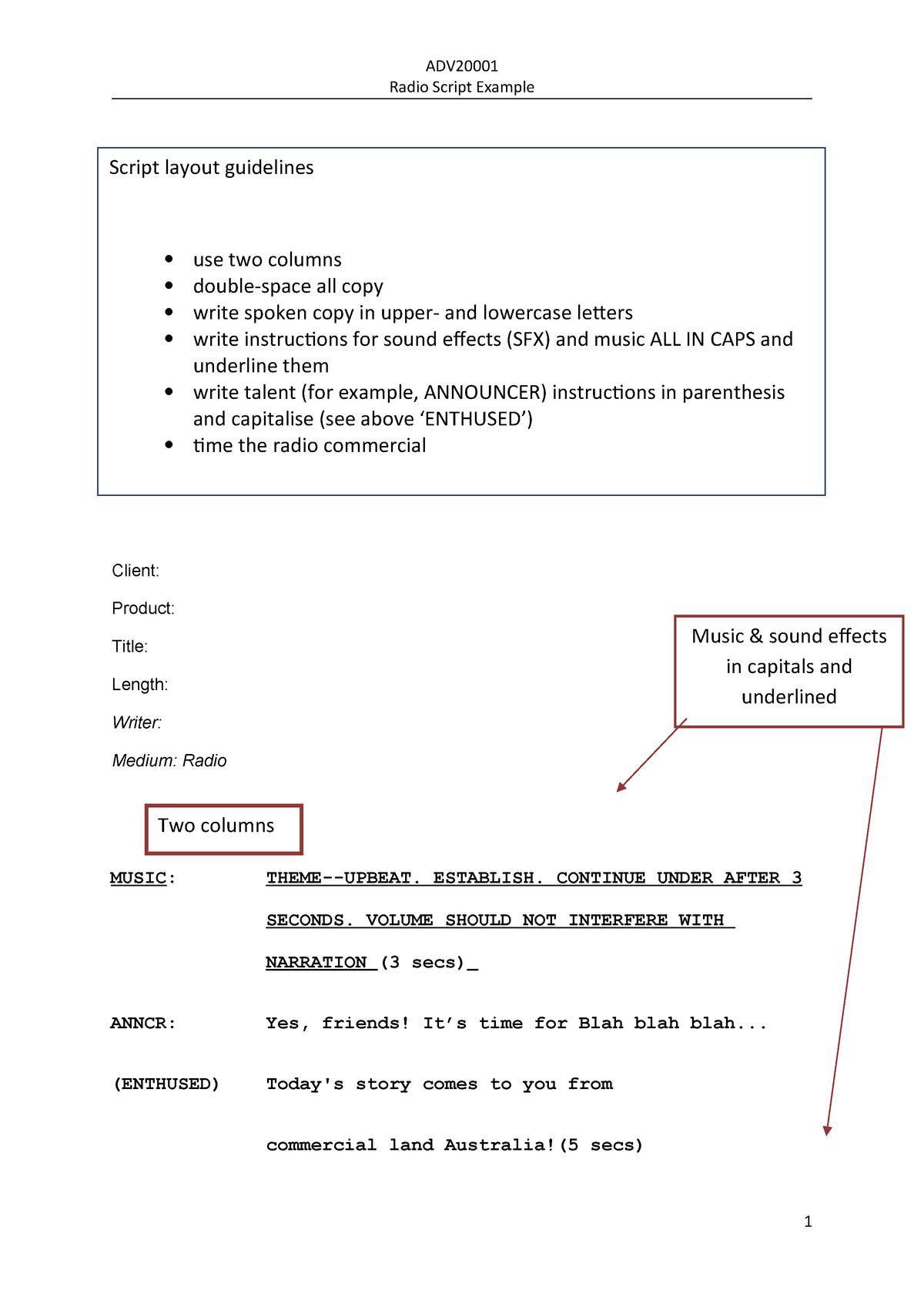 Example-Radio script - Tutorial sample - ADV20002 - StuDocu