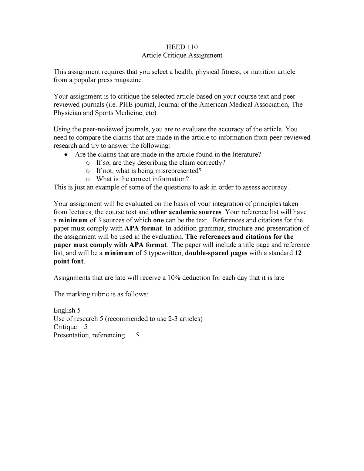 HEED 110 - Article Critique Assignment - He Ed110: Introduction to