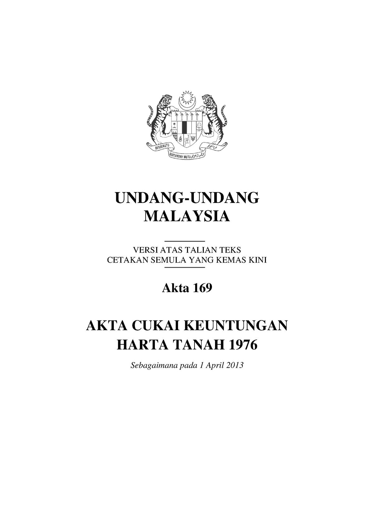 319412518 Akta 169 Akta Cukai Keuntungan Harta Tanah 1976 Pdf Studocu