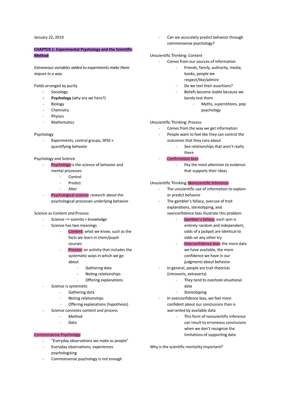 PSY 105 1 Experimental Psychology - PSY 101 - StuDocu
