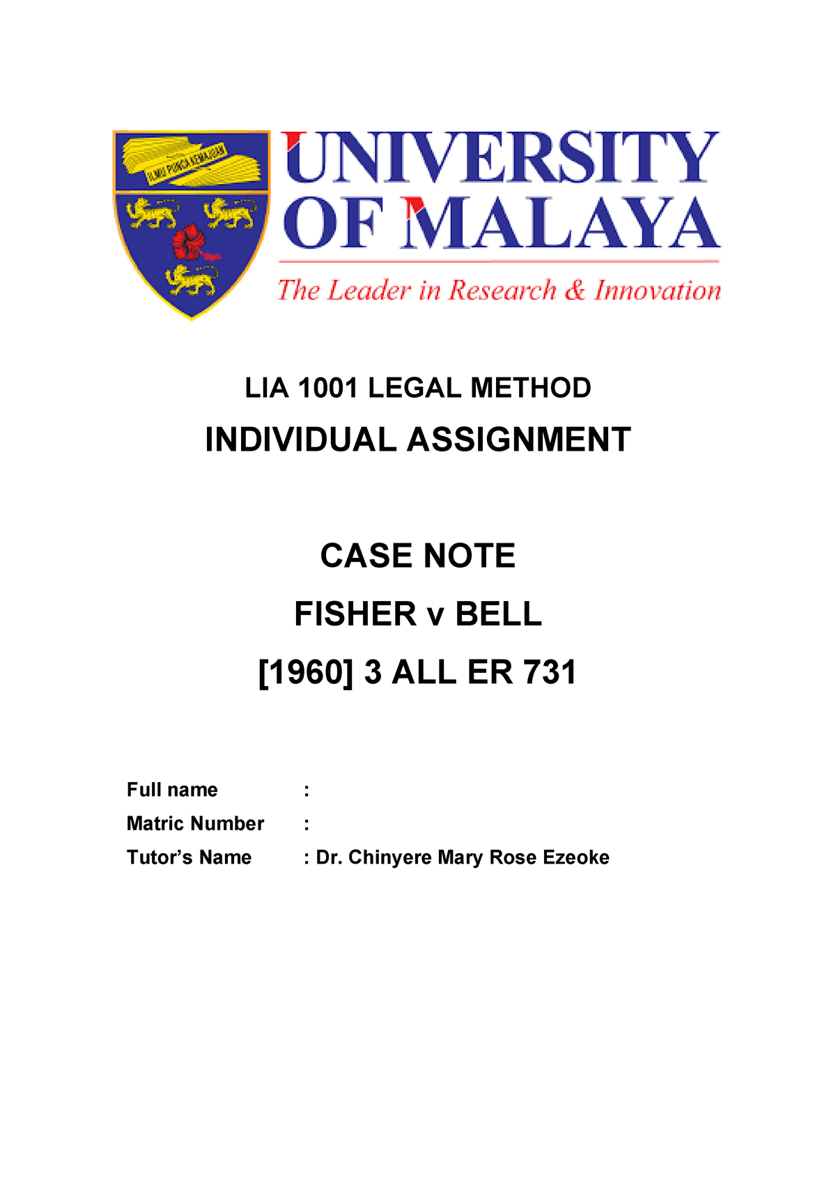 Case Summary(Fisher v Bell) - Legal Method LIA 1001 - StuDocu