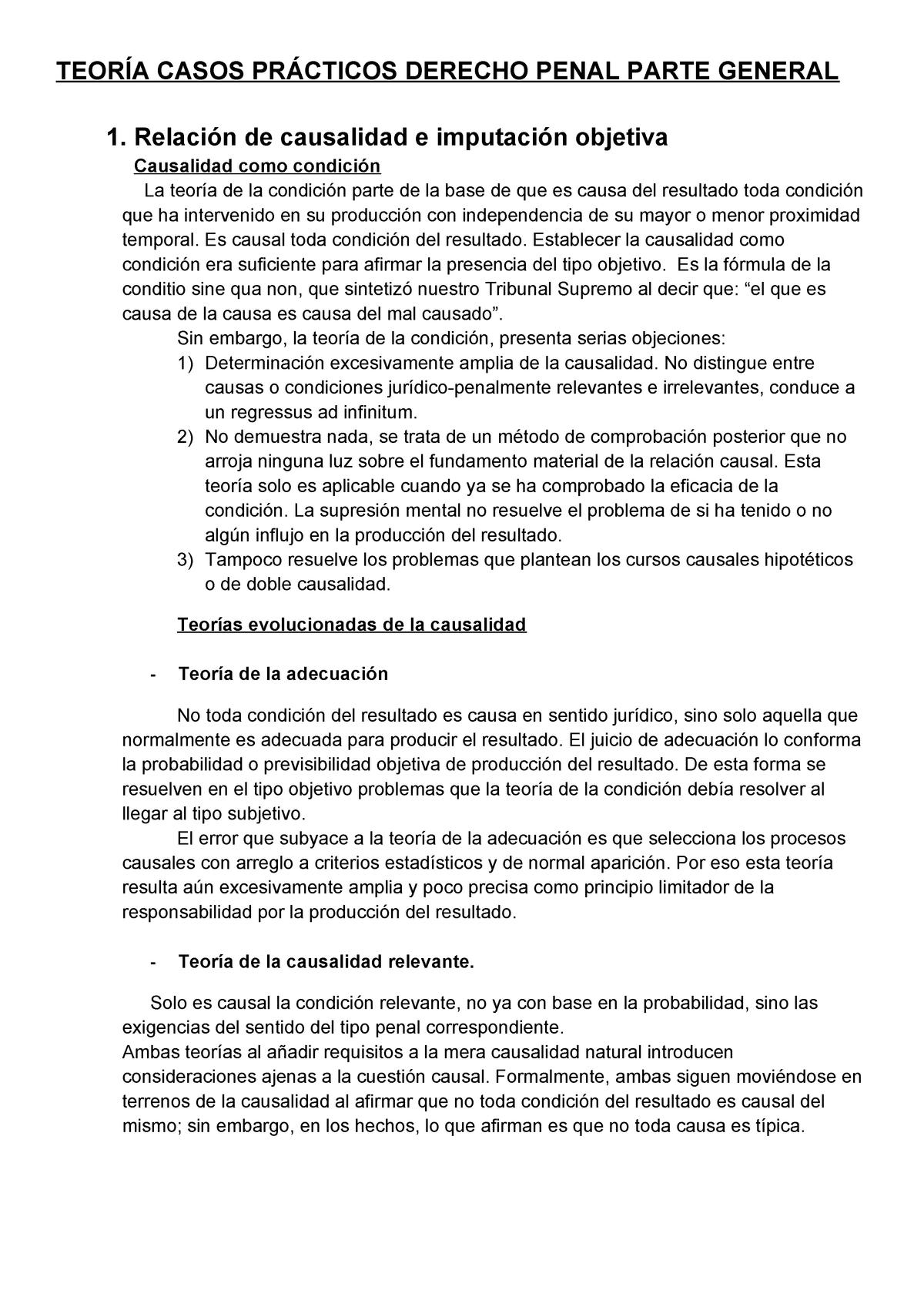 TeoríA Casos PráCticos Derecho Penal Parte General