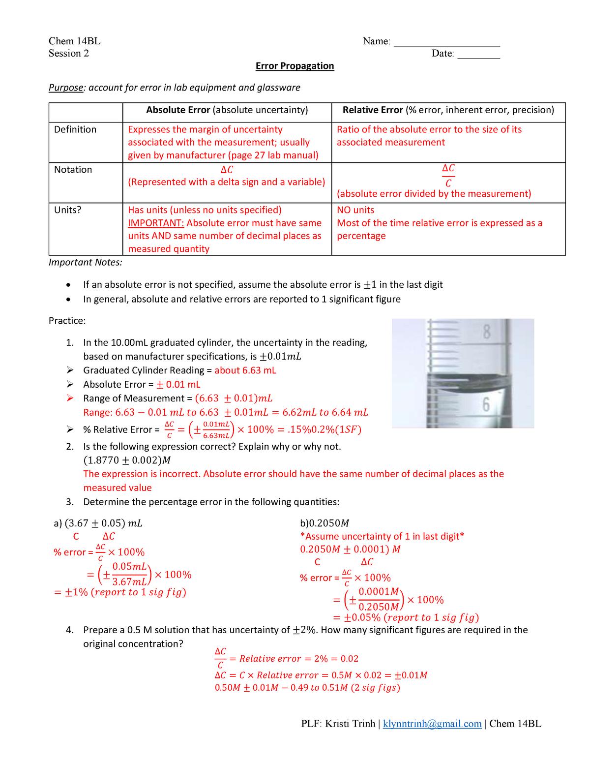 Chem 255B L Session 25 [KEY] - 255B - Chemistry - UCLA - StuDocu In Percent Error Worksheet Answer Key