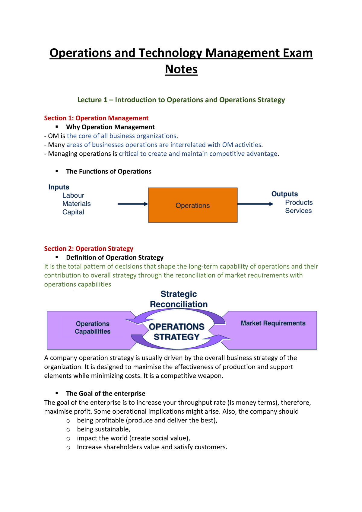 OTM Exam Notes - MSING715: Operations and Technology Management