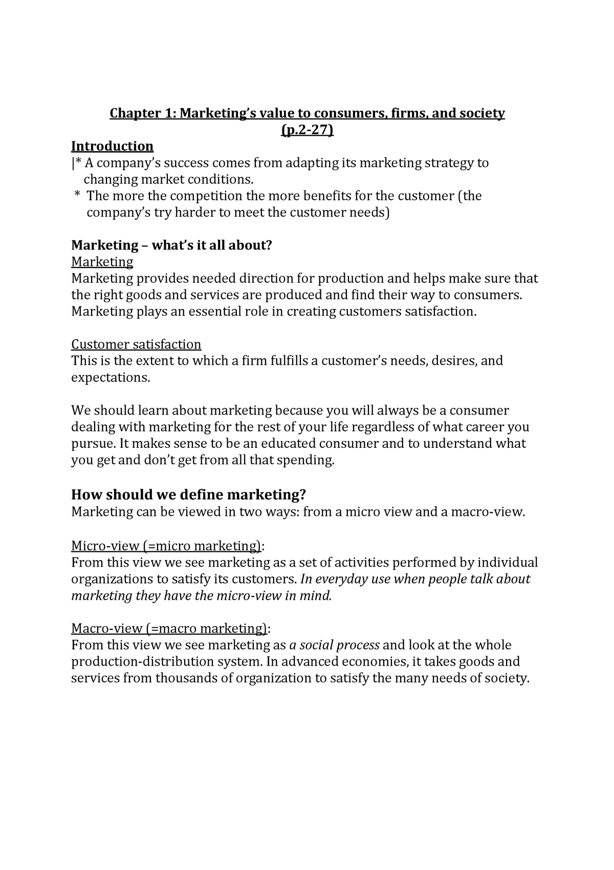 All chapters exam Marketing Management 1 1 - StudeerSnel nl