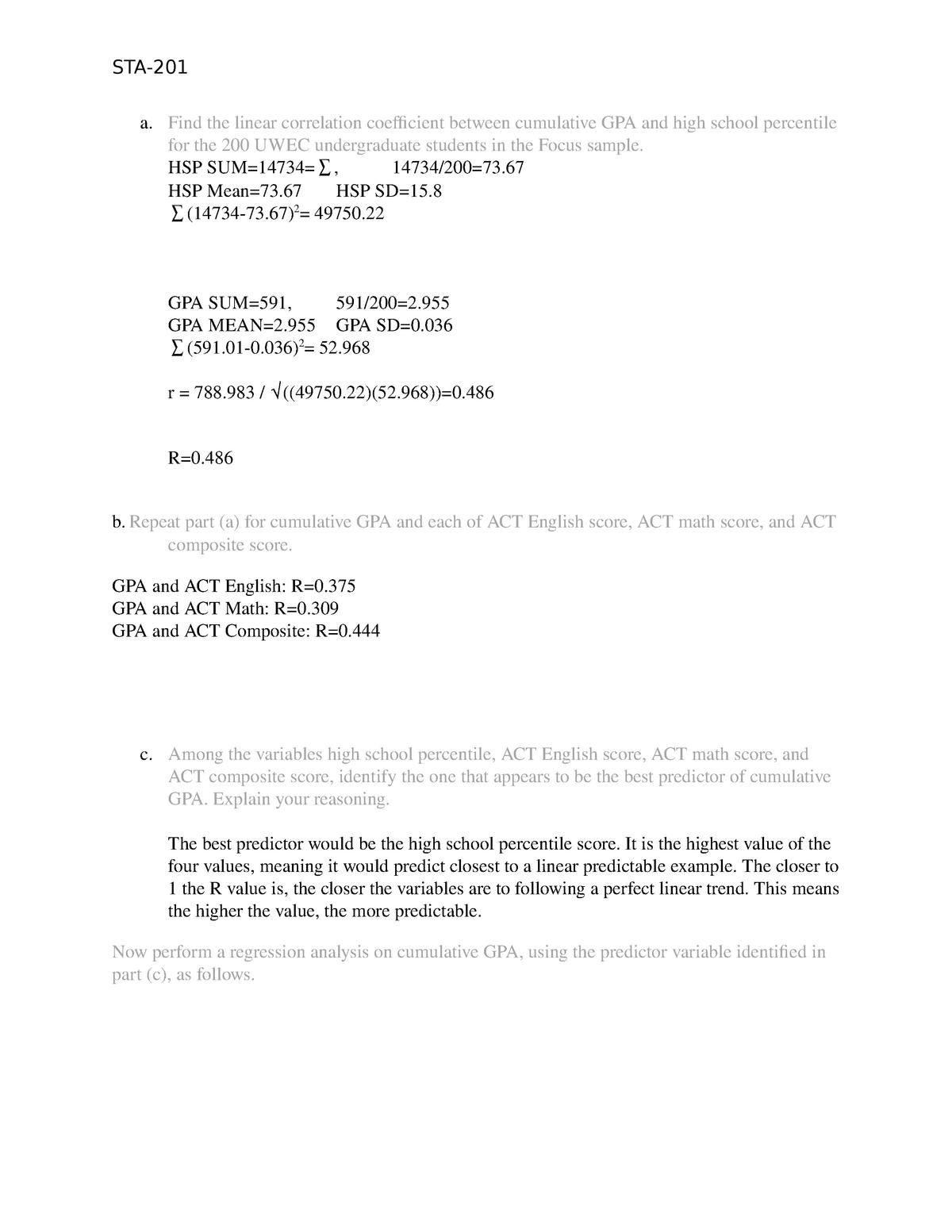 Module 6 Written Assignment - STA-201 - TESU - StuDocu