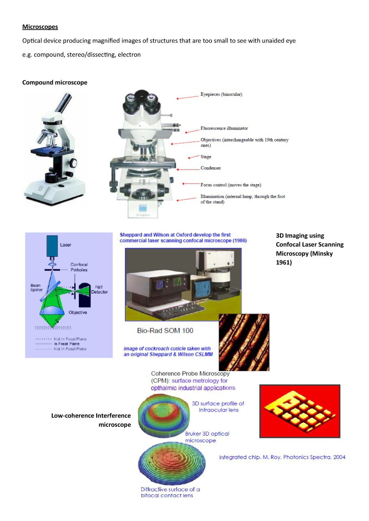 9 1  microscope - Lecture note 13 - VISN1111: Geometrical & Physical